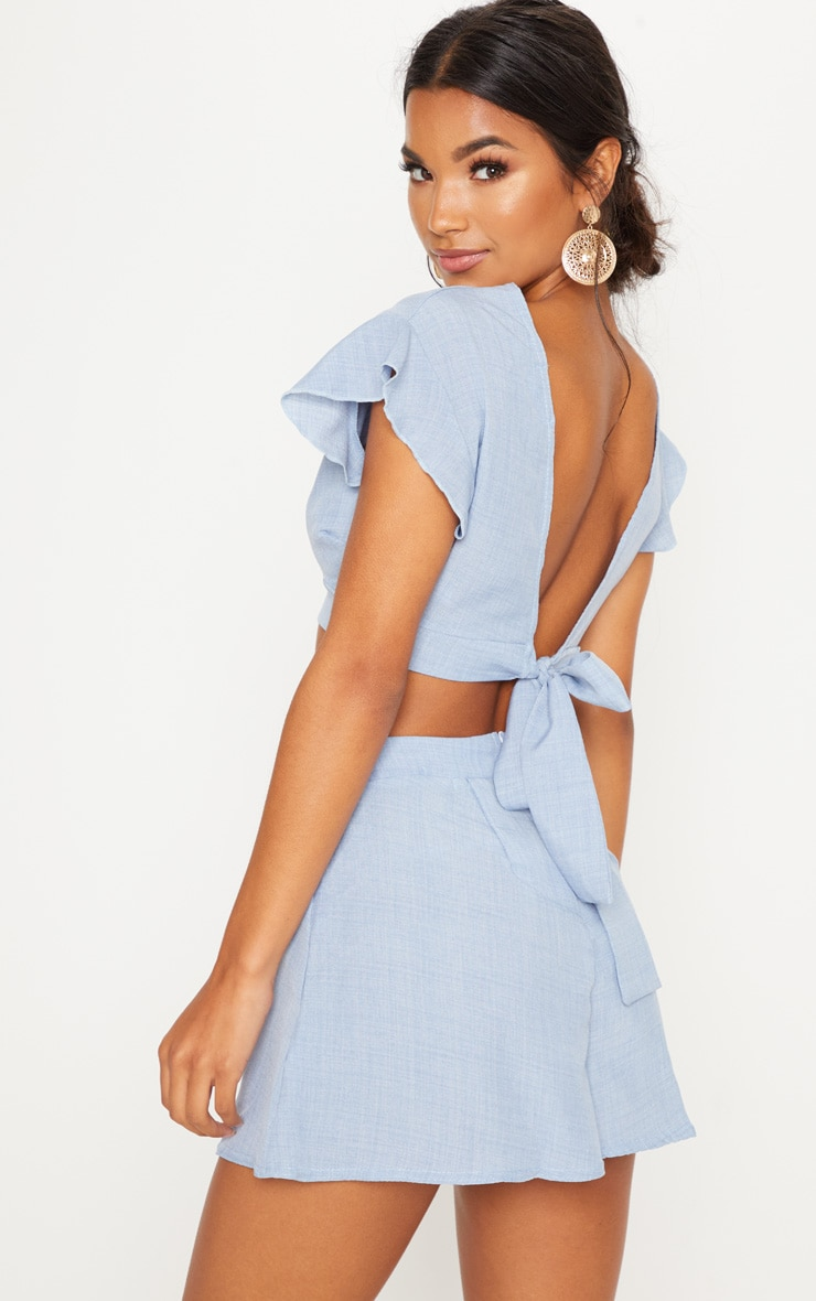 Blue Plunge Frill Sleeve Crop Blouse 1