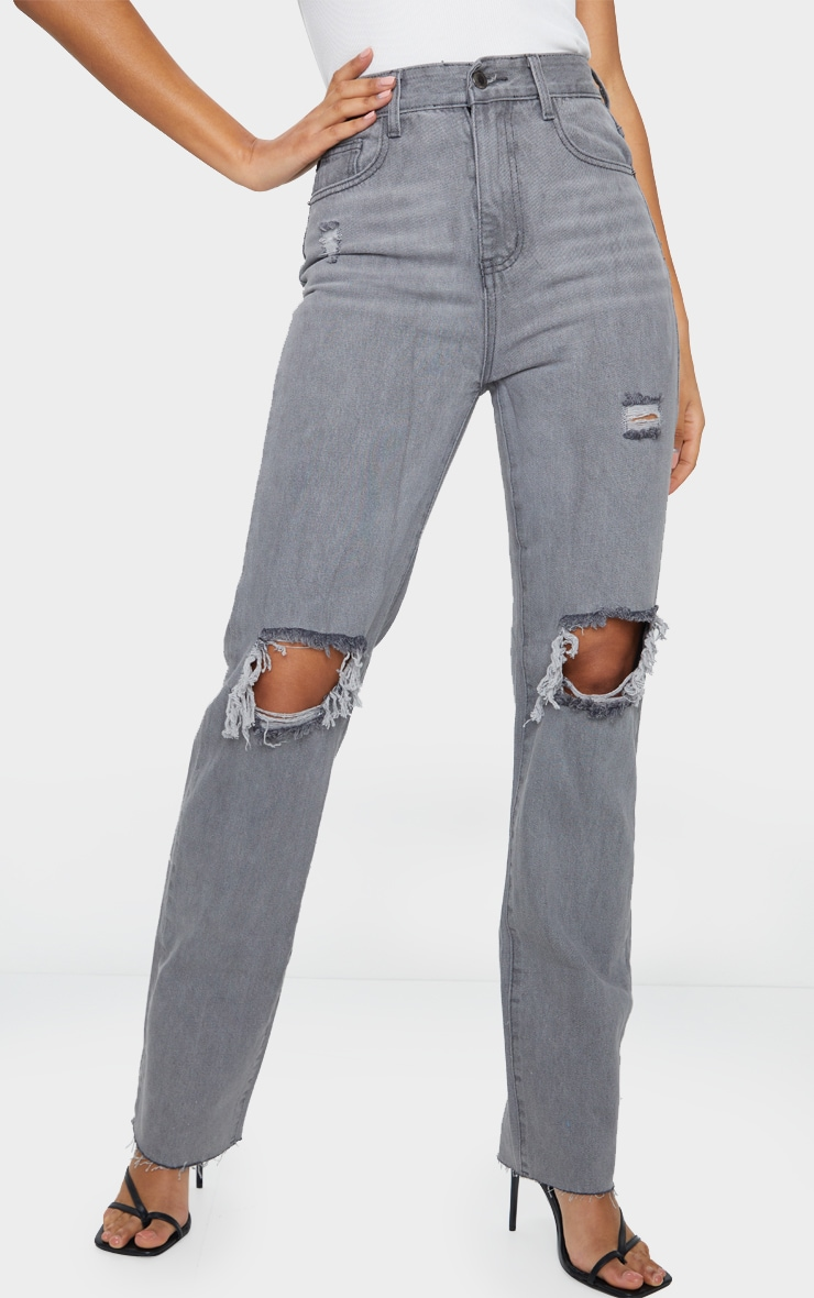 Washed Grey Distressed High Waist Straight Leg Jean 2