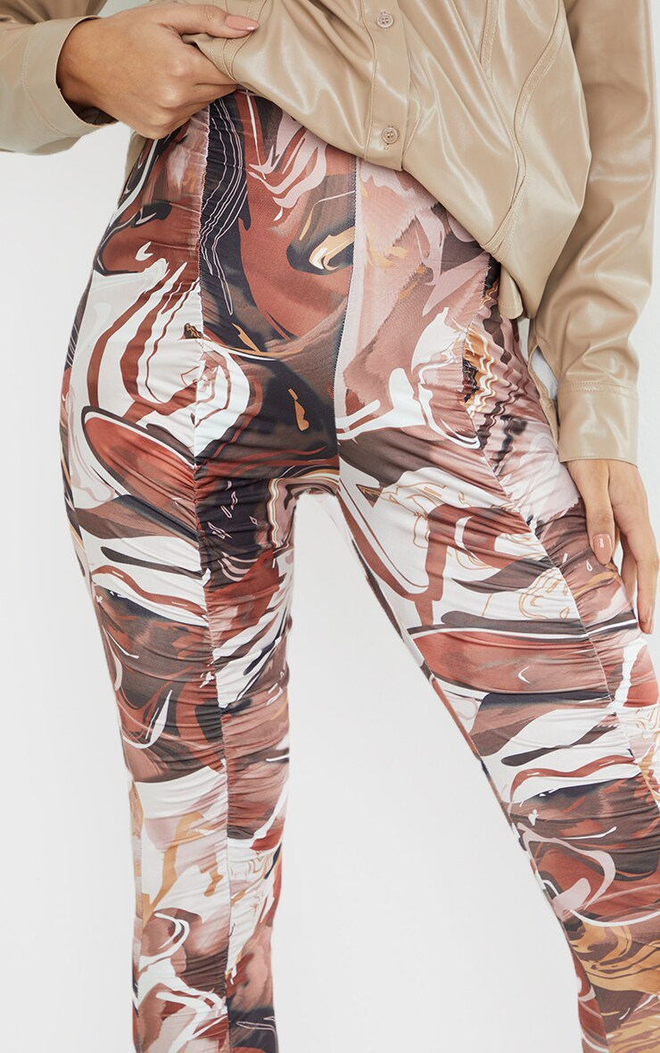 Maternity Chocolate Abstract Print Ruched Leggings 4
