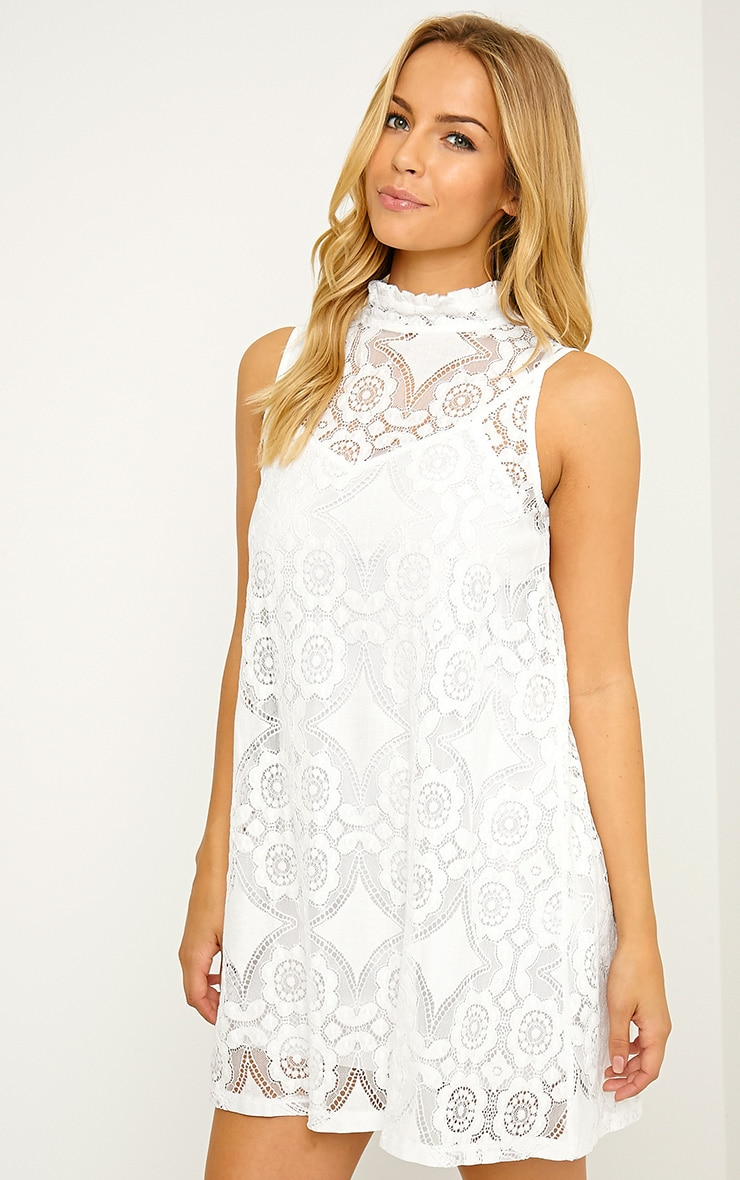Kelsey White Lace Shift Dress 1