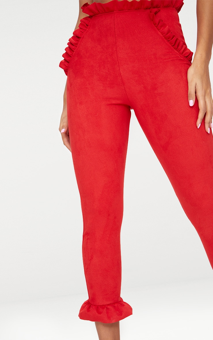 Red Faux Suede Frill Trim Trousers 5