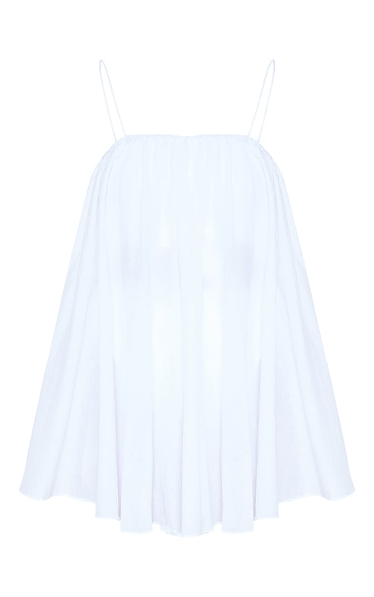 White Cotton Spaghetti Strap Puff Beach Dress 3