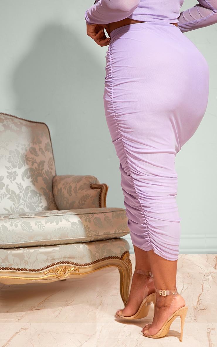 Plus Lilac Mesh Ruched Midi Skirt 3