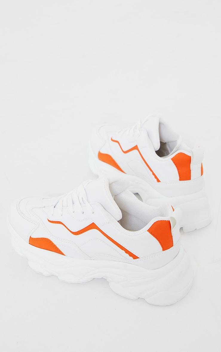 Orange PU Contrast Mesh Color Block Bubble Sole Sneakers 4