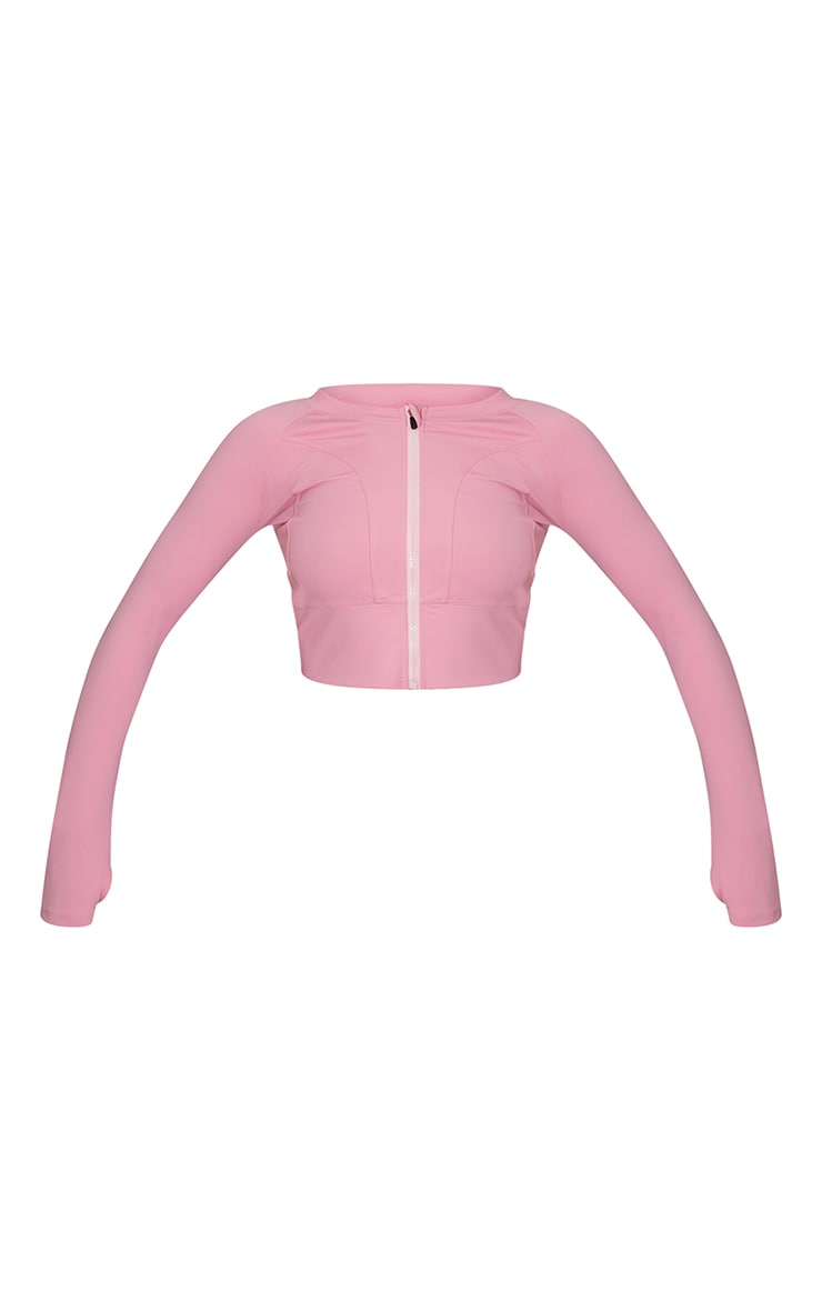Hot Pink Zip Up Cropped Sports Jacket 5