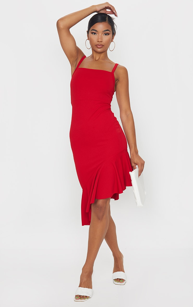 Red Asymmetric Hem Midi Dress 3