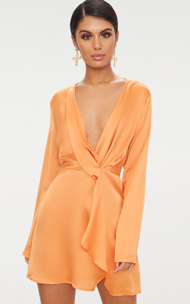 Tangerine Satin Long Sleeve Wrap Dress 1