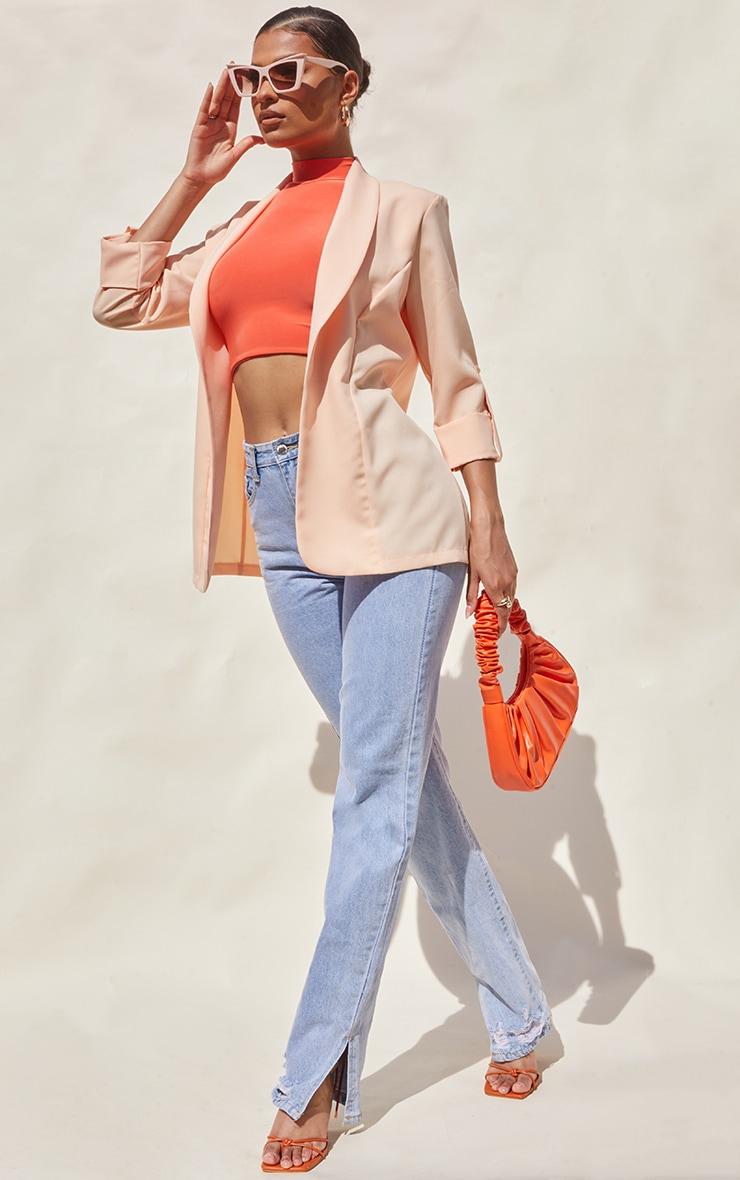 Peach Woven Turn Up Sleeve Blazer 1