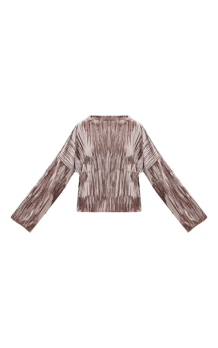Stone Pleated Velvet Oversized Sweater 3
