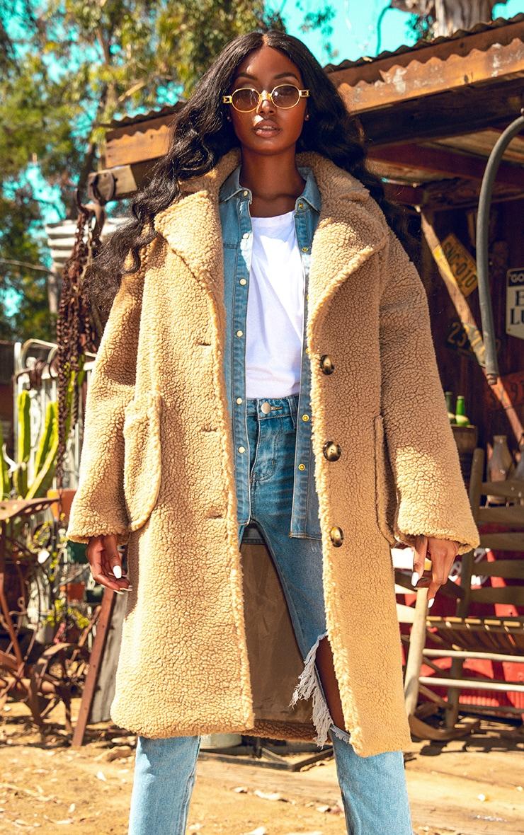 Manteau camel en faux mouton style camionneur