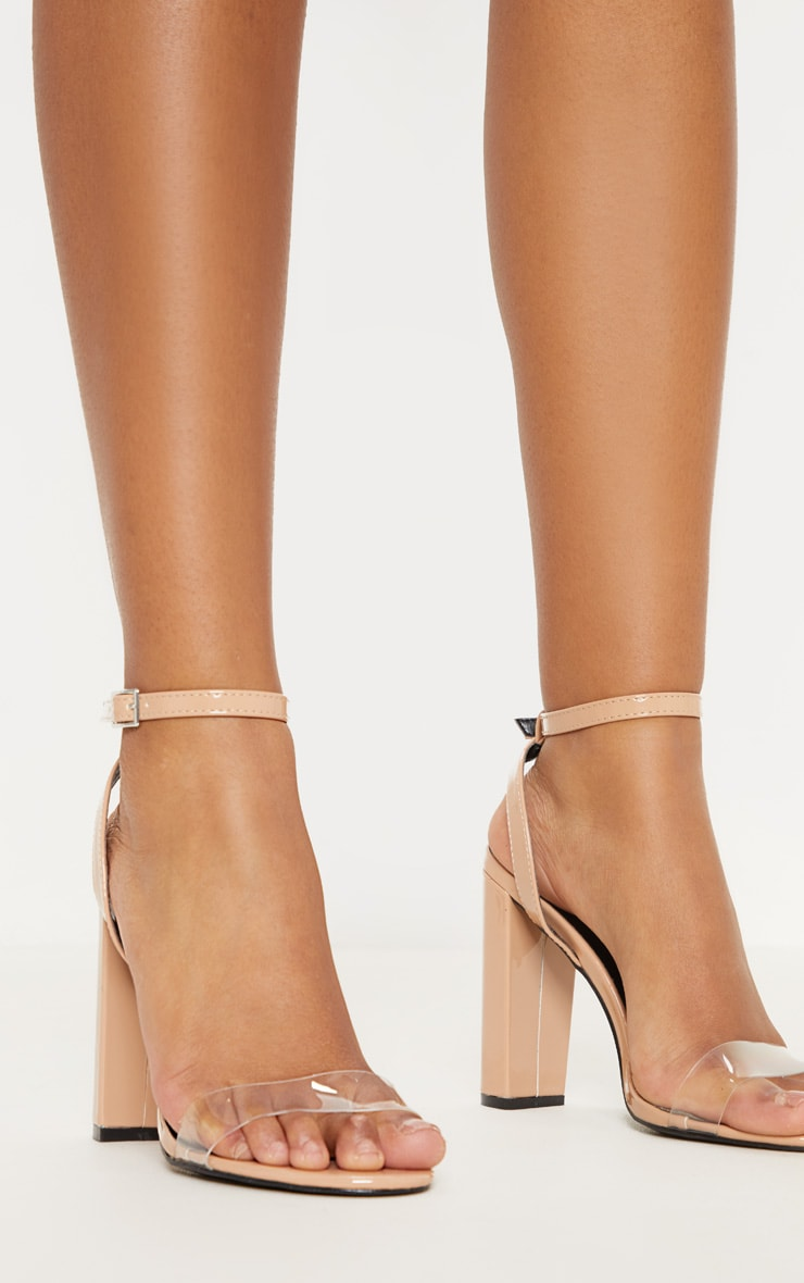 Nude Clear Strap Block Heel Sandal 1