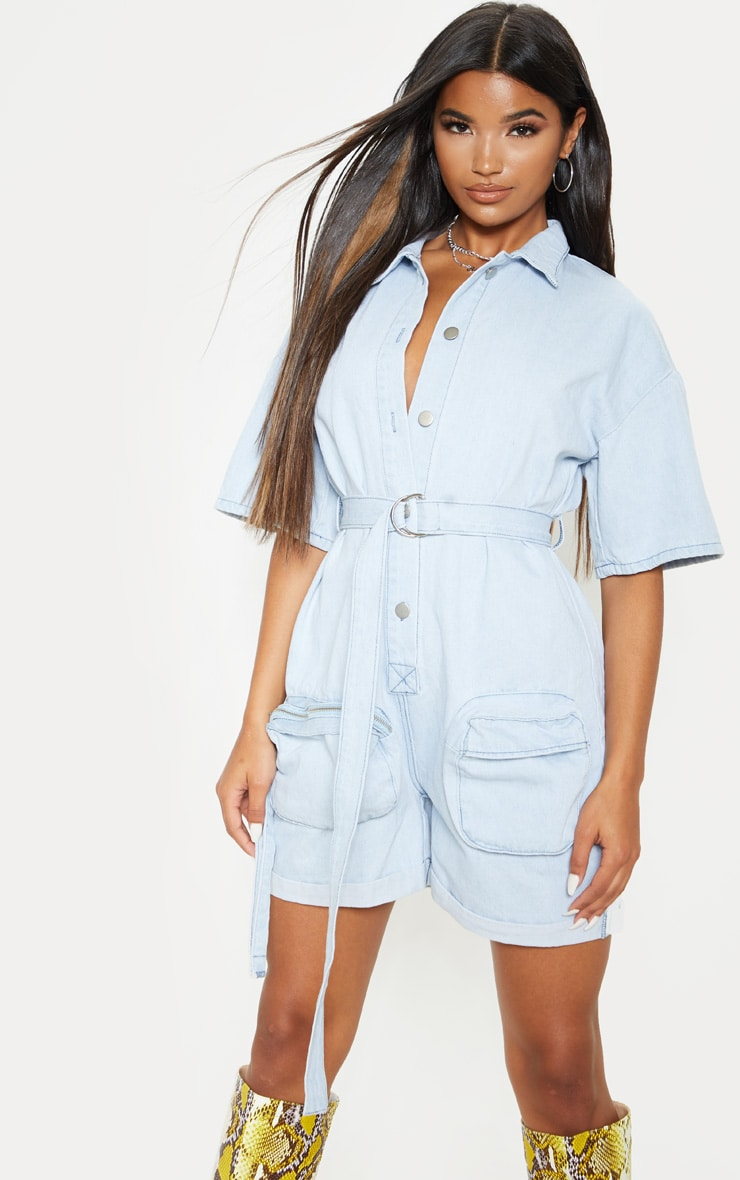 Bleach Wash Romper With Pencil Pockets  4