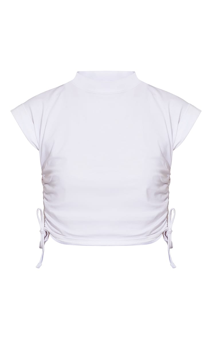 White Cotton Folded Sleeve Ruched Side Crop Top 5