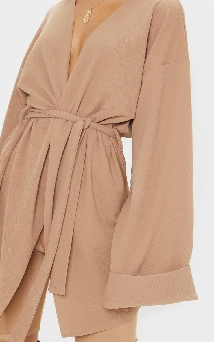 Camel Belted Oversized Sleeve Blazer 5