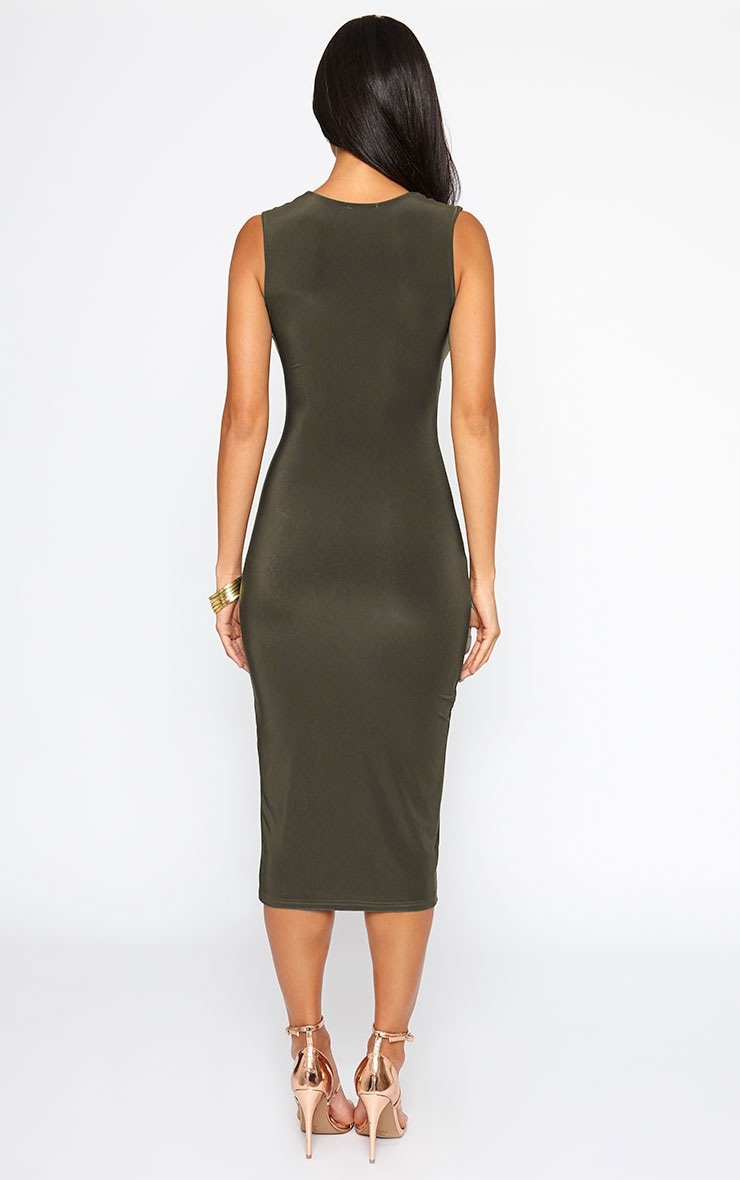 Christa Khaki Sleeveless Plunge Split Front Dress 2