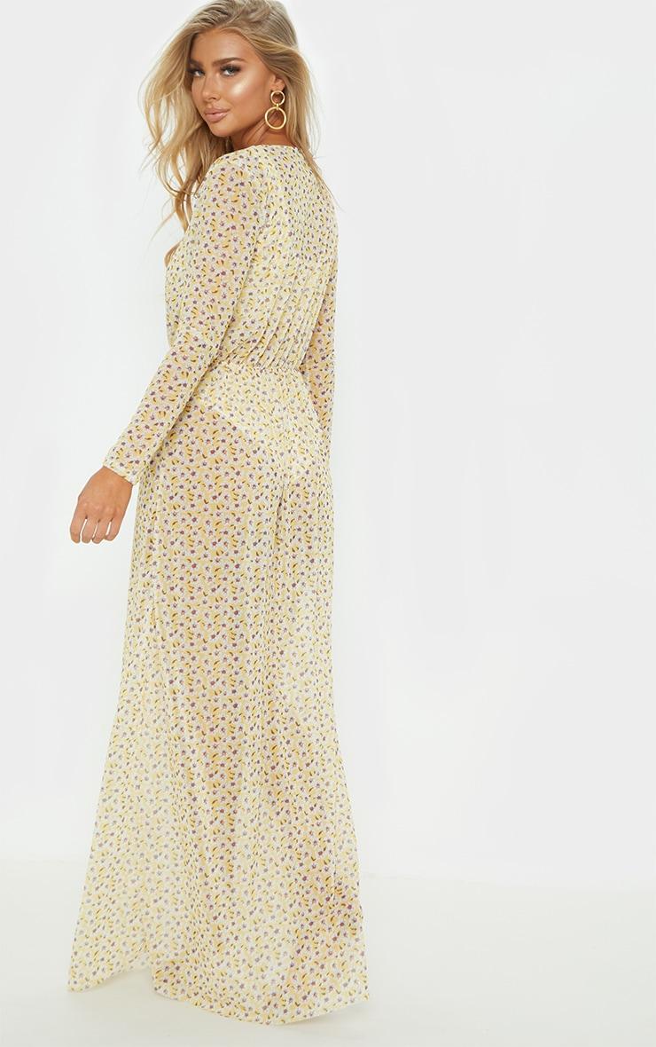 Yellow Ditsy Daisy Long Sleeve Maxi Beach Dress 3