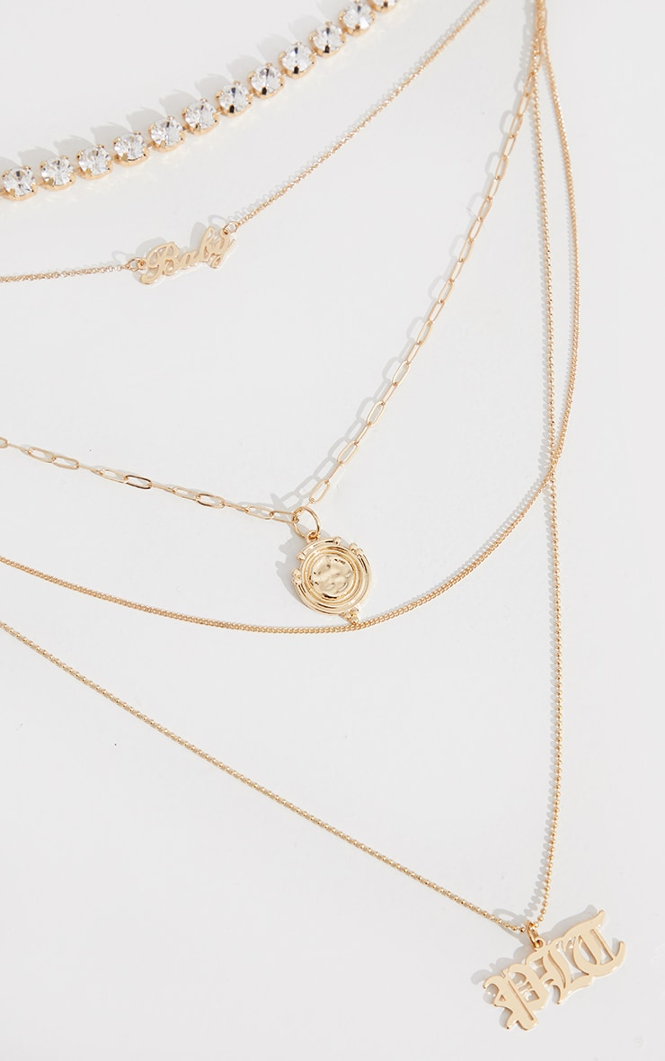 PRETTYLITTLETHING Gold Diamante Pretty Little Thing Layering Necklace 3