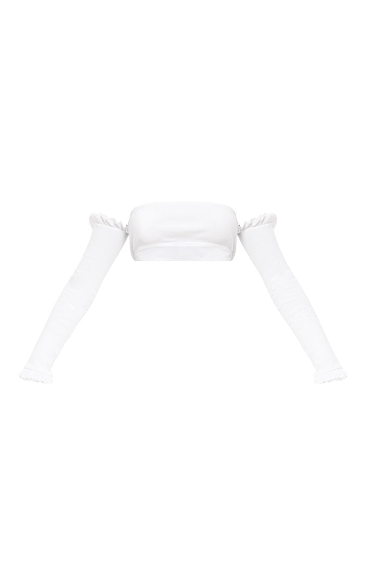 Nanda White Frill Ribbed Bardot Crop Top 2