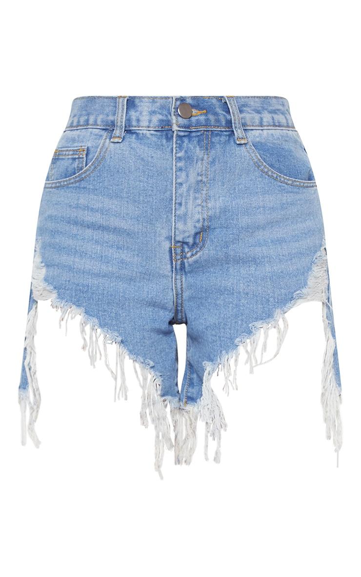 Light Wash Distressed Denim Shorts 4