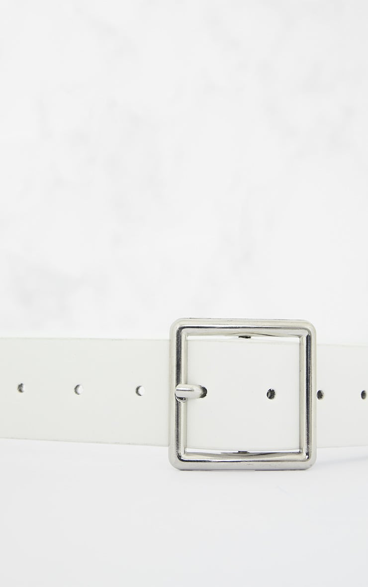 White Basic Square Buckle Belt 5