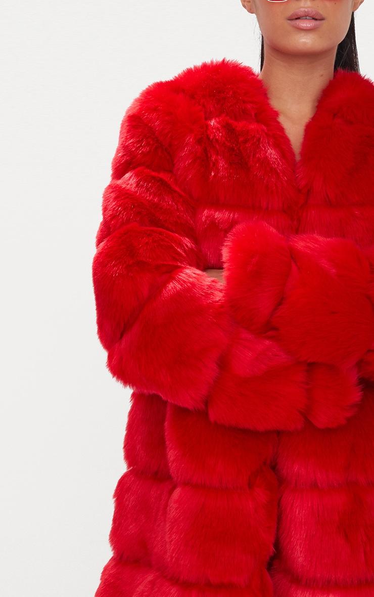Red Faux Fur Bubble Coat 6