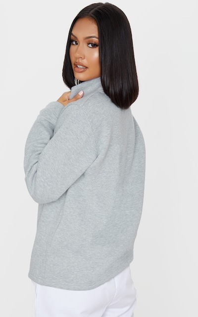 PRETTYLITTLETHING Grey Slogan Oversized Zip Front Sweater