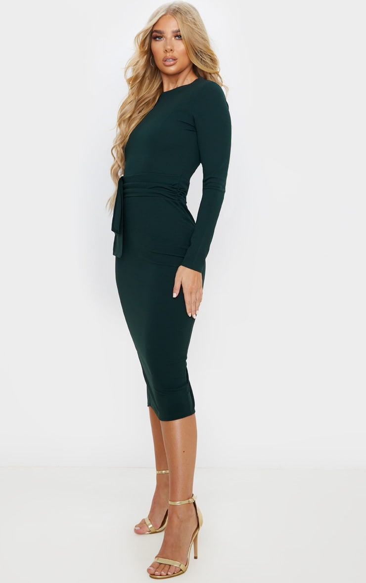 Emerald Green Long Sleeve Wrap Waist Midi Dress 4