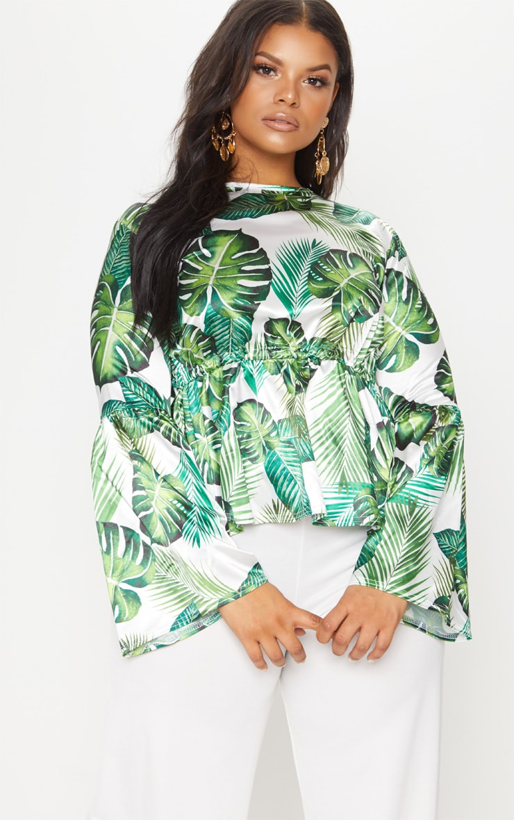 Plus Green Palm Print Satin Tie Detail Frill Blouse 2
