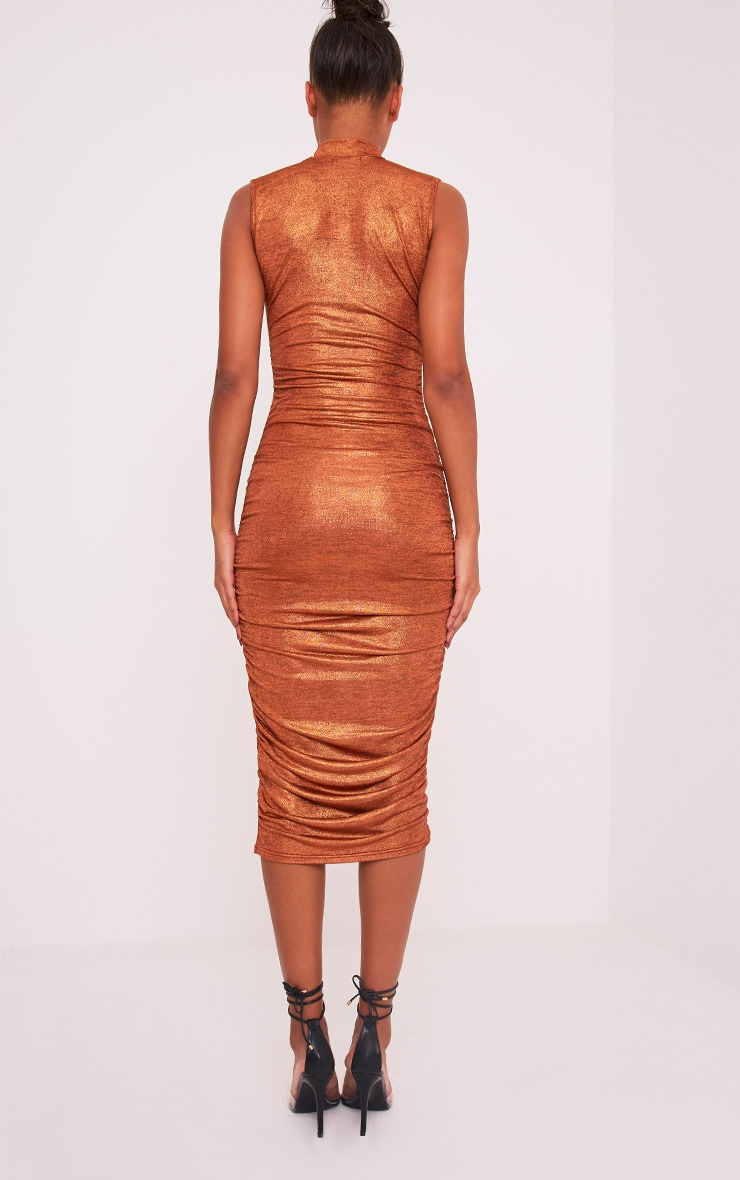 Alexia Copper Metallic High Neck Midi Dress 2