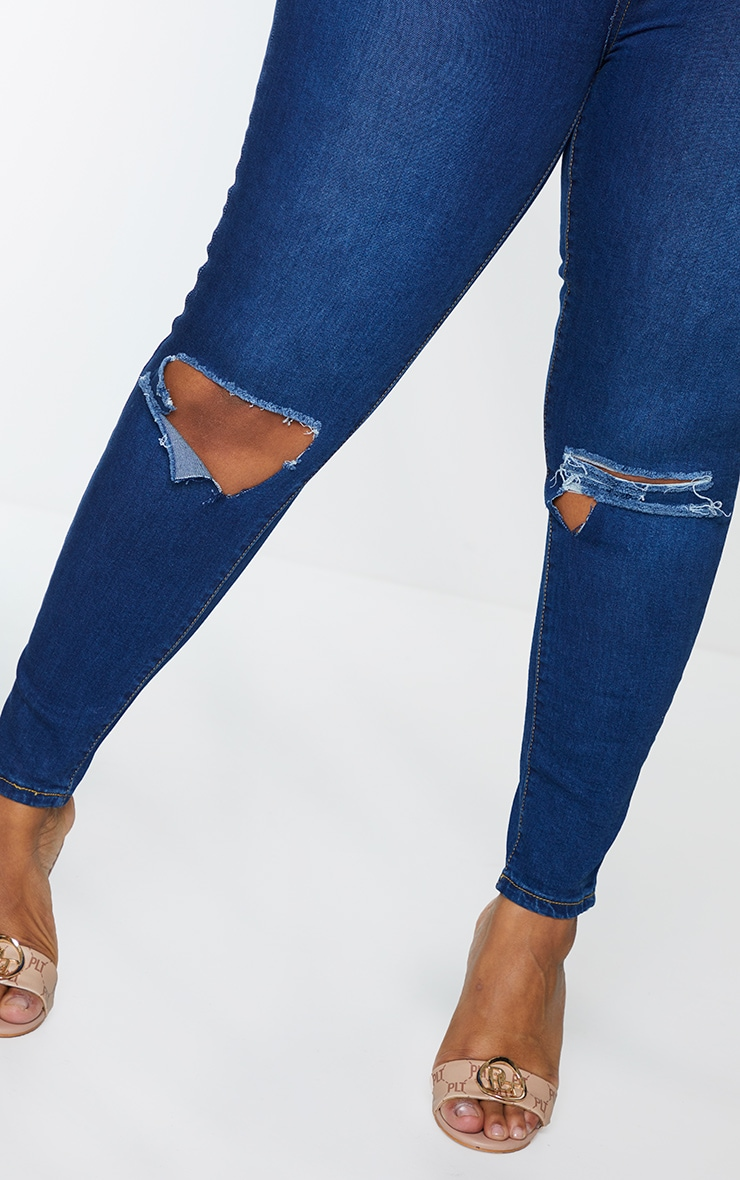 Plus Dark Wash Open Knee Rip High Waisted Skinny Jeans 4