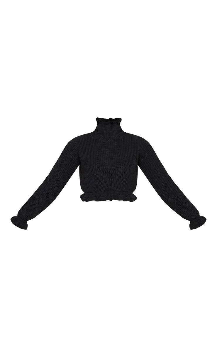 Petite Black Knit High Neck Ruffle Trim Crop Jumper 3