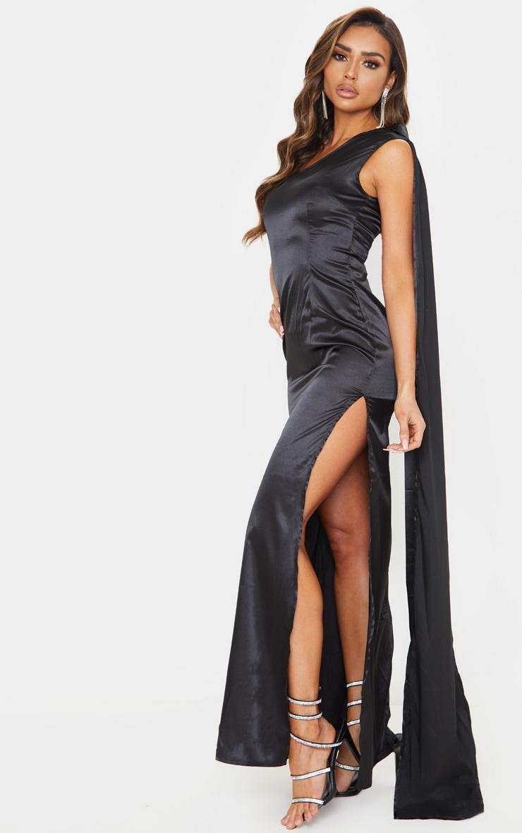 Black Drape Sleeve Satin Maxi Dress