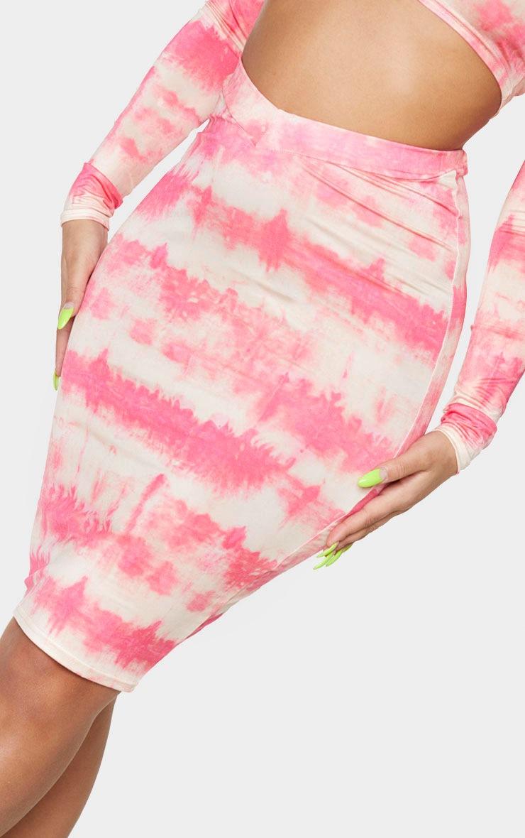 Coral Tie Dye Print Slinky Dip Hem Midi Skirt 4