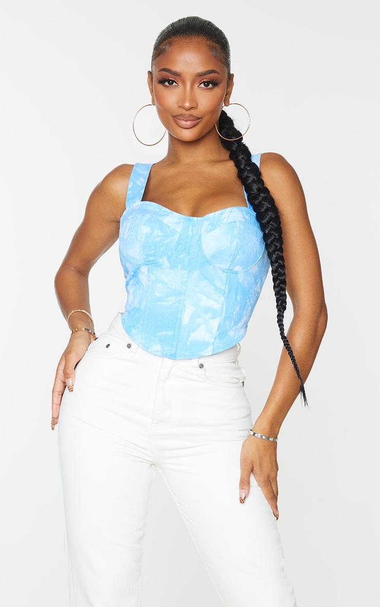Shape Blue Tie Dye Woven Corset Crop Top 1