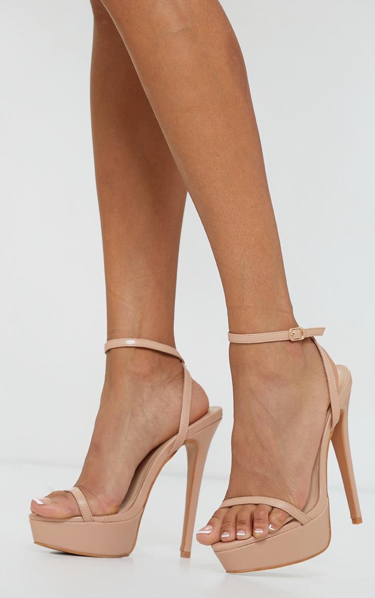 Nude Pu Platform Strappy High Heels 1