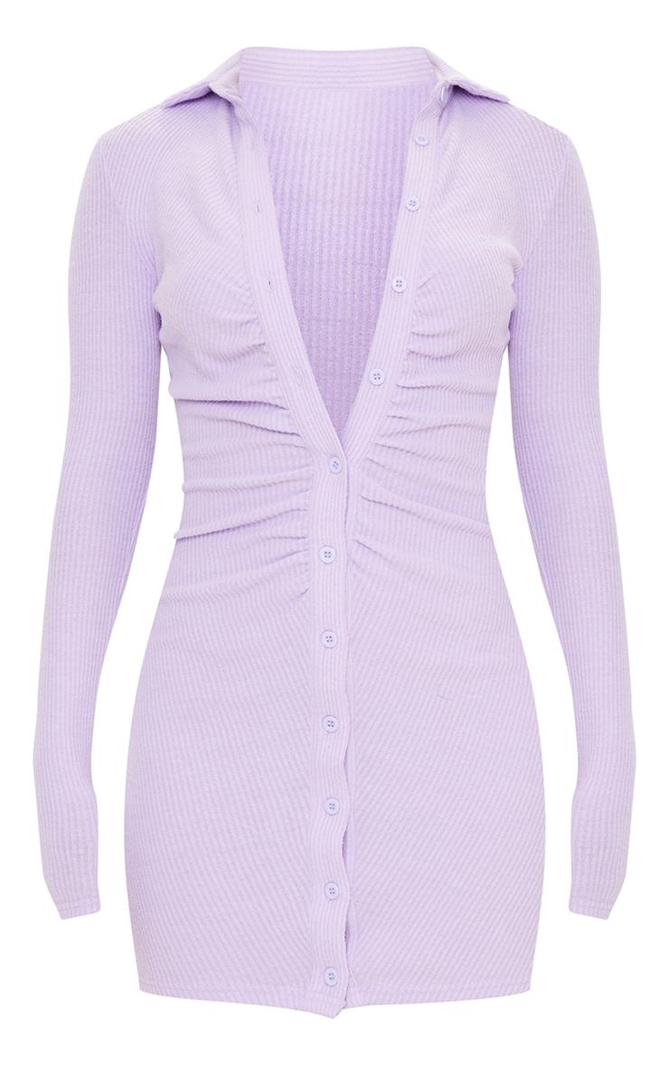 Purple Brushed Rib Long Sleeve Ruched Shirt Dress 5
