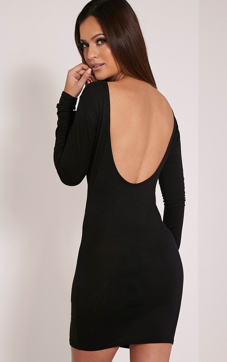 Basic Black Scoop Back Bodycon Dress 1