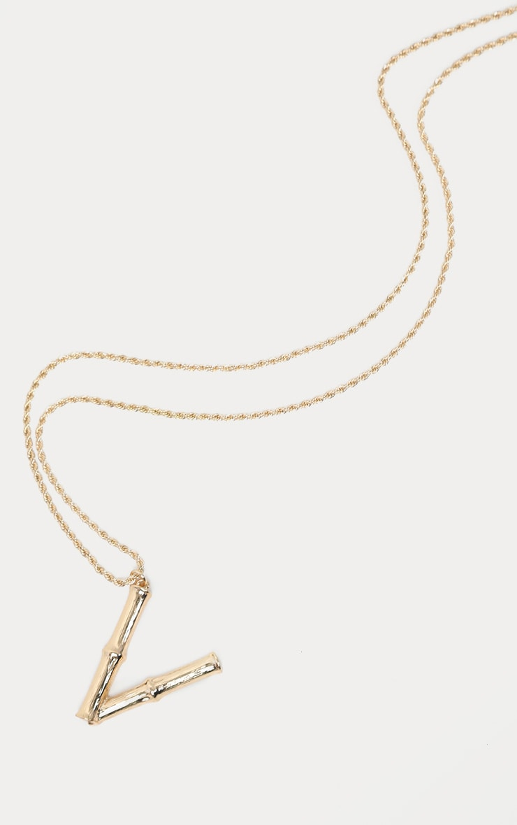 Gold V Bamboo Letter Necklace 3