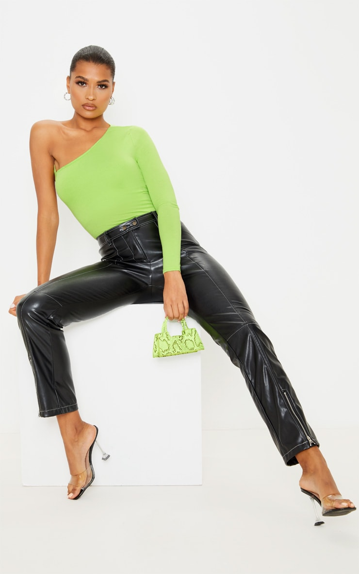 Lime Jersey One Shoulder Cut Out Bodysuit 5