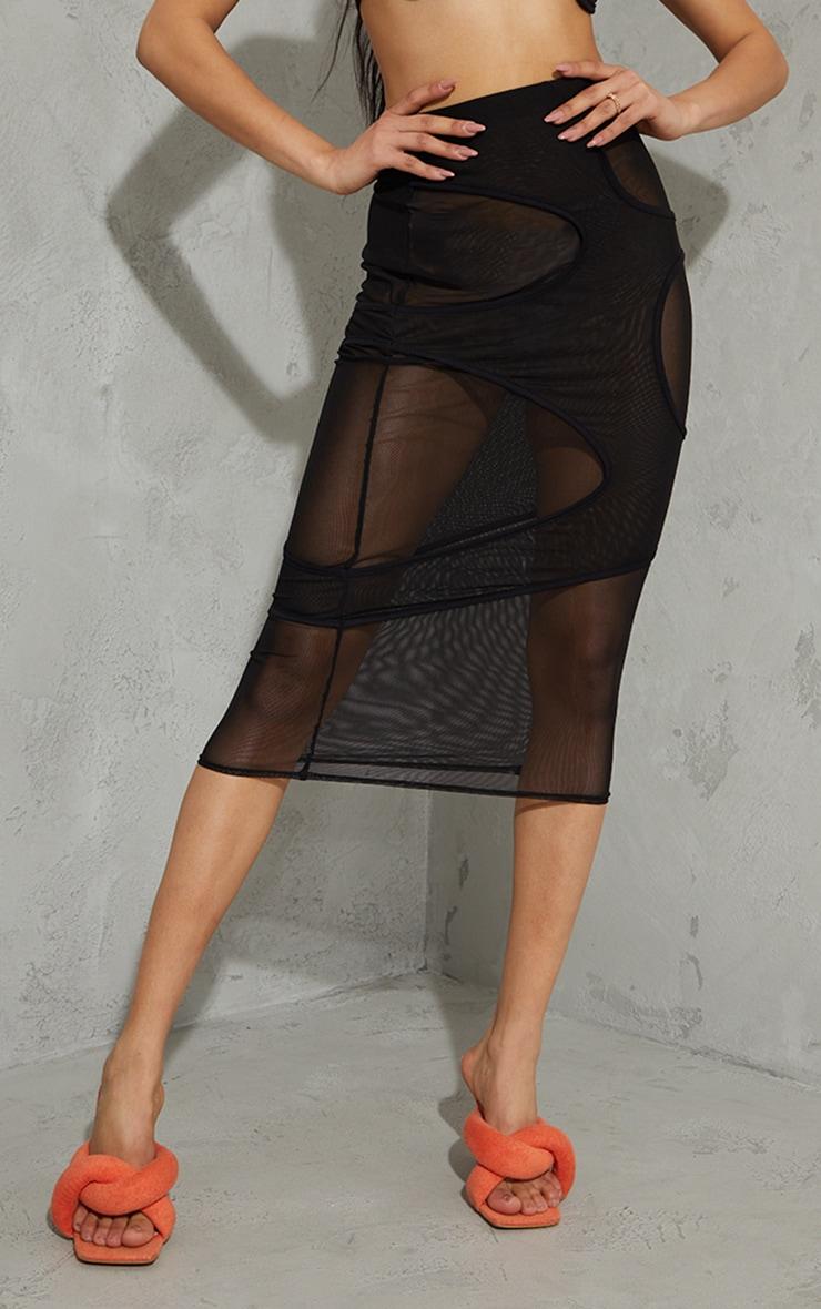 Black Mesh Circle Cut Out Layered Midaxi Skirt 2