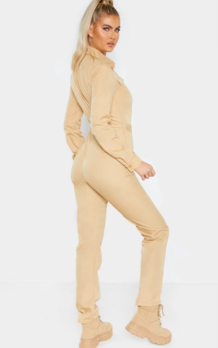 Tall Fawn Square Pocket Long Sleeve Utility Jumpsuit 2