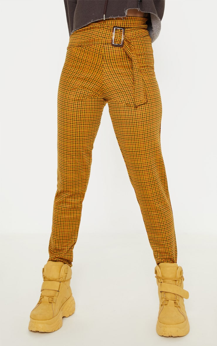Petite Mustard Checked Rectangle Tortoise Belt Trousers 2