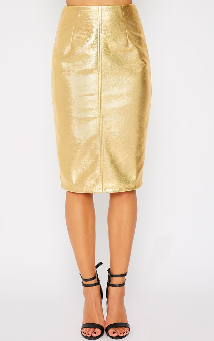 Catalina Gold Coated Midi Skirt 4