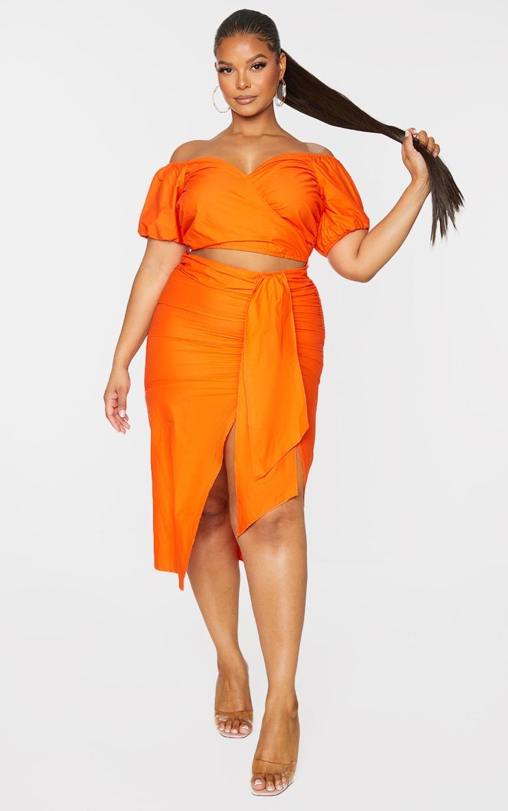 Plus Orange Woven Cut Out Wrap Dress 1