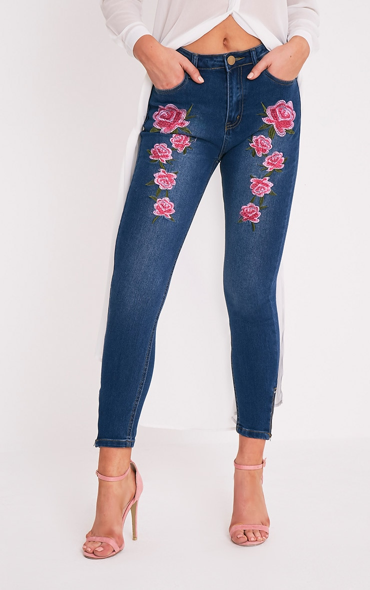 Mid Wash Embroidered High Waisted Skinny Jean 2