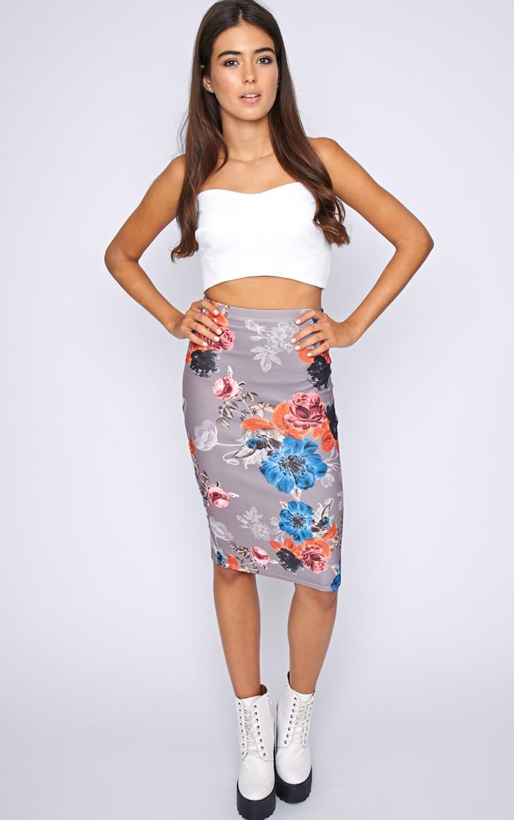 Juliette Mocha Floral Midi Skirt  1