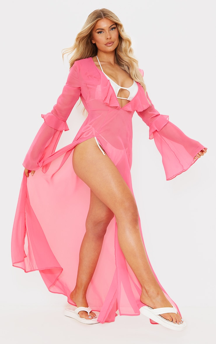 Pink Plunge Frilly Maxi Beach Dress 3
