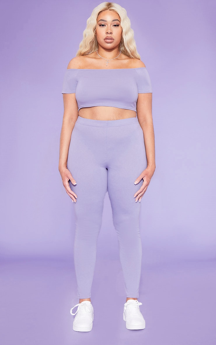 RECYCLED Plus Violet Bardot Short Sleeve Crop Top 4