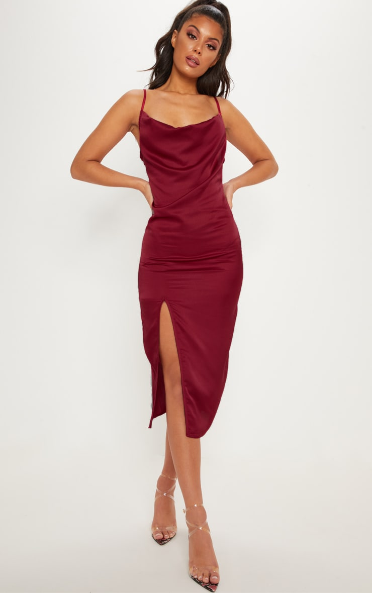 Burgundy Strappy Satin Cowl Midi Dress 1