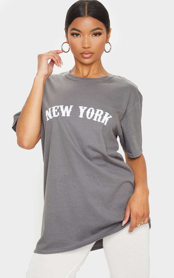 Charcoal Grey New York Printed T Shirt 1